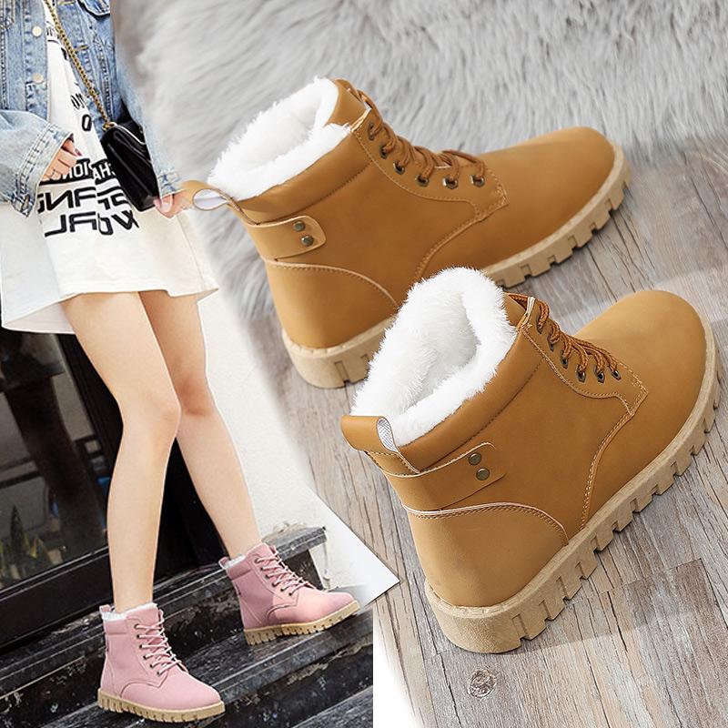 雪地靴女短筒韩版百搭学生2018新款冬季棉鞋加绒防水马丁靴平底鞋