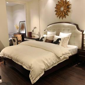 轻奢美式实木真皮床后现代床简约床双人大床1.8米婚床欧式主卧床