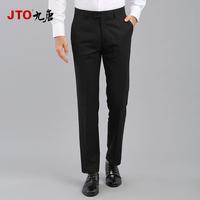 JTO九唐服饰秋冬季休闲裤商务职业工作裤子直筒羊毛黑色西裤男
