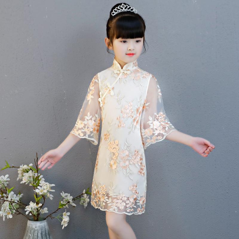 儿童旗袍女童中国风公主夏季中式连衣裙小女孩古筝演出服改良唐装