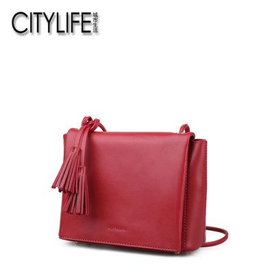 城市生活CITYLIFE小包包新款糖果色小方包女包流苏斜挎包