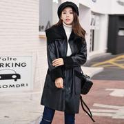 2017冬装新款韩版棉衣女中长款羊羔毛鹿皮绒棉服外套拼接百搭棉袄