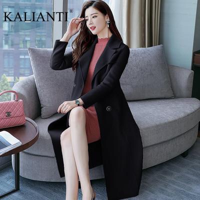 KALIANTI中长款气质腰带羊毛呢外套双面羊绒大衣女款秋新款BD909