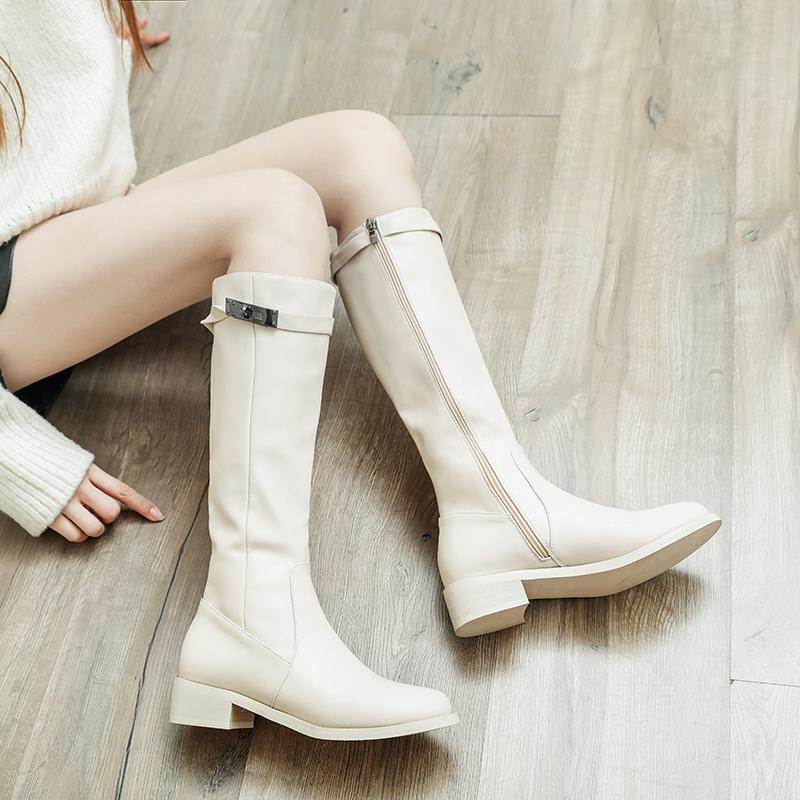 秋冬季2019新款高筒靴长筒骑士靴马靴瘦瘦靴白色拉链倒靴平底靴女
