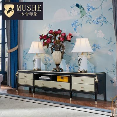 欧式轻奢电视柜 新古典实木电视柜客厅后现代雕花大户型储物地柜