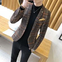 男士休闲西服韩版修身单上衣青年帅气小西装青少年学生薄款外套潮