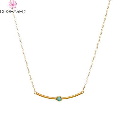 DOGEARED多琪儿美国绿松石平衡幸运锁骨链925银镀14K金项链女