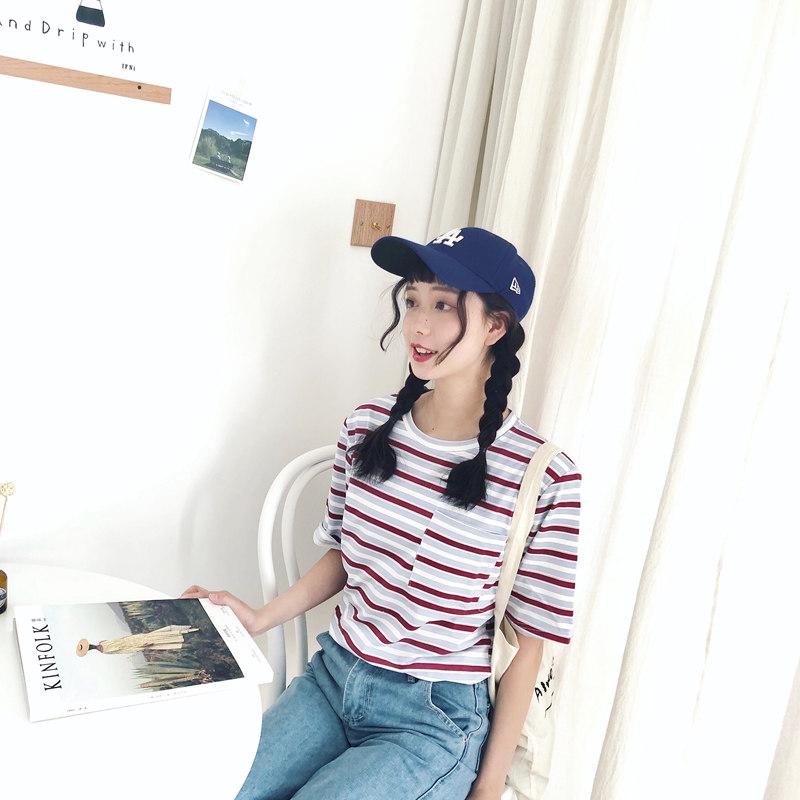 短袖T恤女夏季新款韩国原宿bf风宽松学生条纹ulzzang半袖上衣服潮