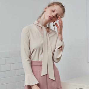 茉兰多系带喇叭袖衬衫女上衣百搭纯色长袖雪纺衫S6015