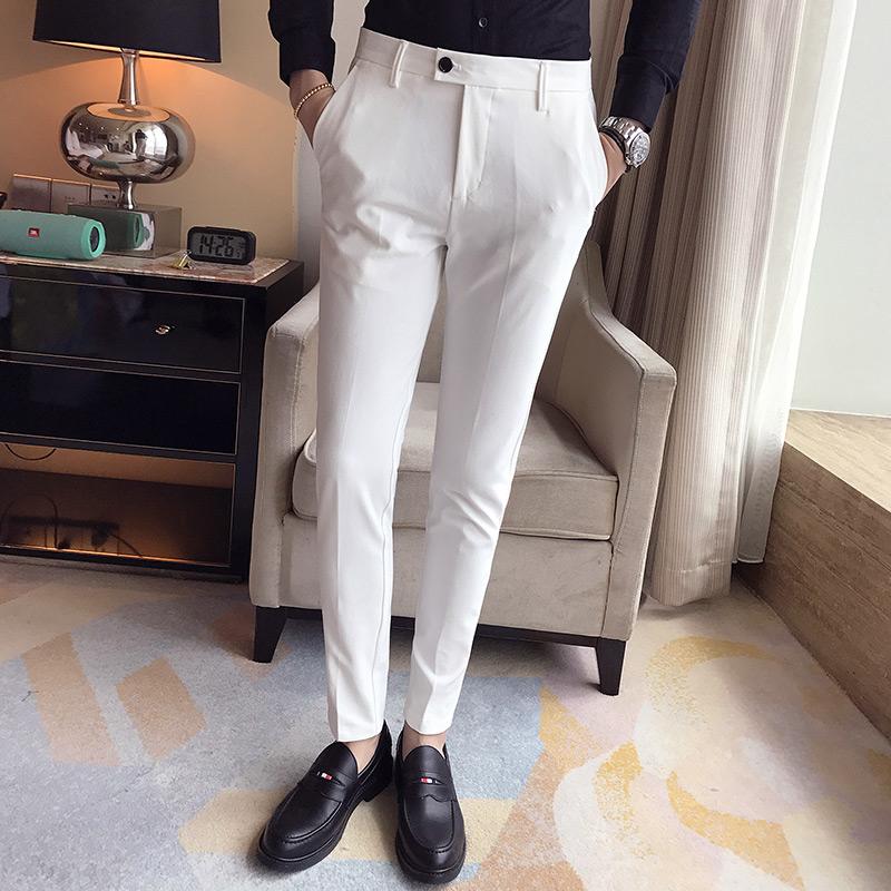 香港潮牌2018春款商务休闲西裤男士长裤子修身小脚裤纯色6色裤