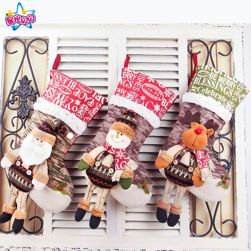 圣诞节袜子礼物袋糖果场景布置装饰品平安夜大号雪人鹿老人礼品袋