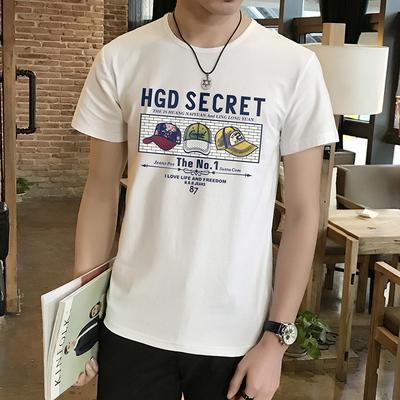 2018新款韩版个性潮流T恤男短袖宽松半截袖男夏季学生百搭半袖t血