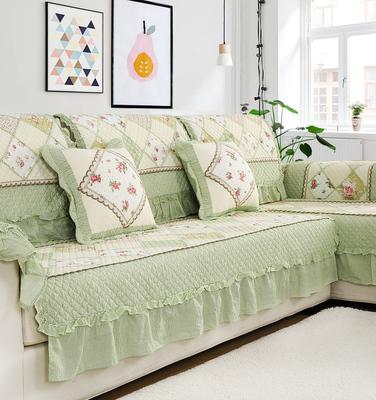 韩式温馨田园绗缝纯棉布艺 组合四季全棉沙发垫沙发巾 防滑坐垫