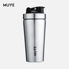 MUFE不锈钢便携单层蛋白粉摇摇杯健身运动水杯子带刻度搅拌杯包邮