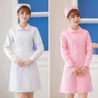 Nurse suit summer short-sleeved thin section female pink white coat long-sleeved doll collar round neck pharmacy work uniform set