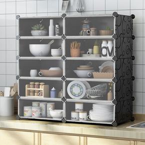 简易碗柜餐边柜小型家用多功能组装储物柜简约现代塑料橱柜厨房柜