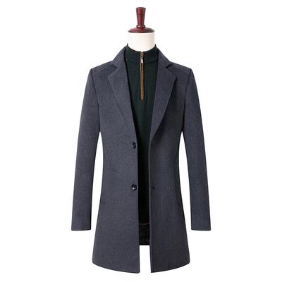 呢子大衣男中长款韩版2018新款羊毛绒外套高档风衣男西装领中青年