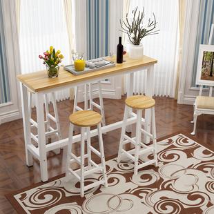 简约厨房吧台桌家用客厅隔断阳台靠墙长条桌高脚桌椅组合定做 包邮