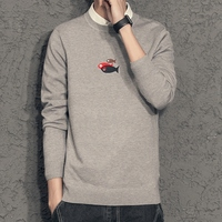 秋季宽松简约男士衬衫领毛衣假两件男针织衫新款潮流带领长袖线衫