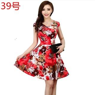 中年妈妈装中老年连衣裙35-40-45-50岁大码妇女装短袖花裙子夏装