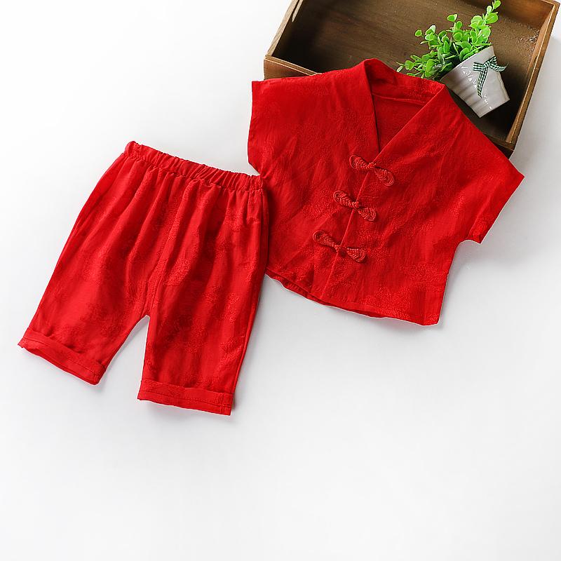 婴儿夏季童装新生的儿男女宝宝衣服满月百日唐装礼服周岁摄影抓周