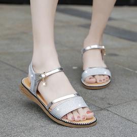 金色凉鞋女平底鞋仙女风低跟一字带平跟厚底夏季鞋子2019新款度假图片