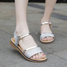 仙女风低跟1字带平跟厚底冬季鞋 子2019新款 金色凉鞋 女平底鞋 度假