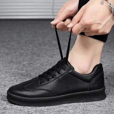 厨师鞋男上班工作鞋透气男土全黑色社会小皮鞋男防水防滑厨房用鞋