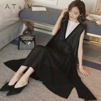 奥蒂沃孕妇装2018夏季新款韩版时尚宽松拼色雪纺纱孕妇长裙YY77