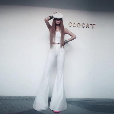 欧美风高弹力超紧身白色喇叭裤子女夏季2019薄款高腰显瘦阔腿长裤