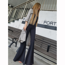 Slim, high waist, black bell trousers, stretch tight pants, wide legs, fashionable skinny pants, suits and pants