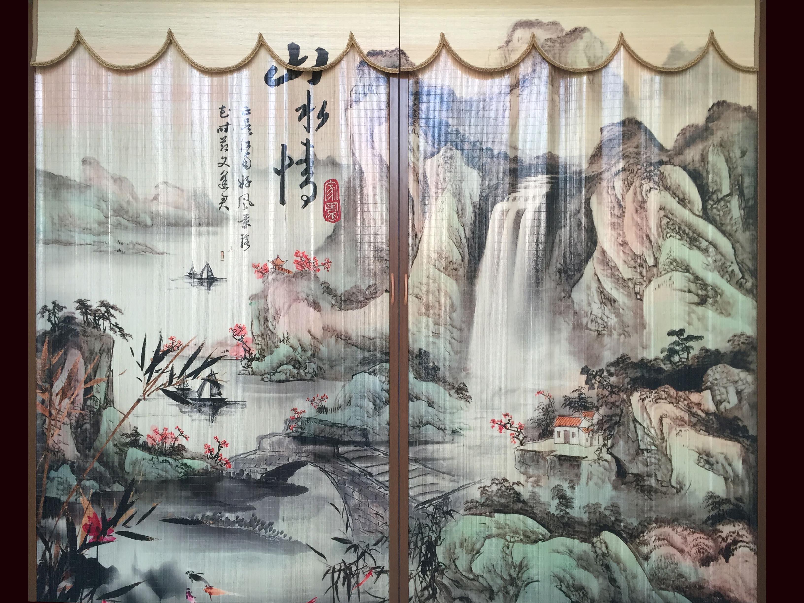 新品遮光遮阳茶室隔断屏风榻榻米日式挂画窗帘竹帘折叠推拉门