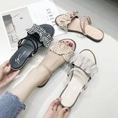 百搭学生沙滩鞋 chic仙女鞋 两穿度假平底罗马凉鞋 一鞋 女夏2018新款图片