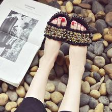 18新款平底拖鞋女夏外穿时尚水钻软底凉拖防滑百搭休闲一字沙滩鞋