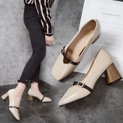 2018秋季新款高跟粗跟皮带扣韩版浅口单鞋女方头休闲女鞋子低帮鞋