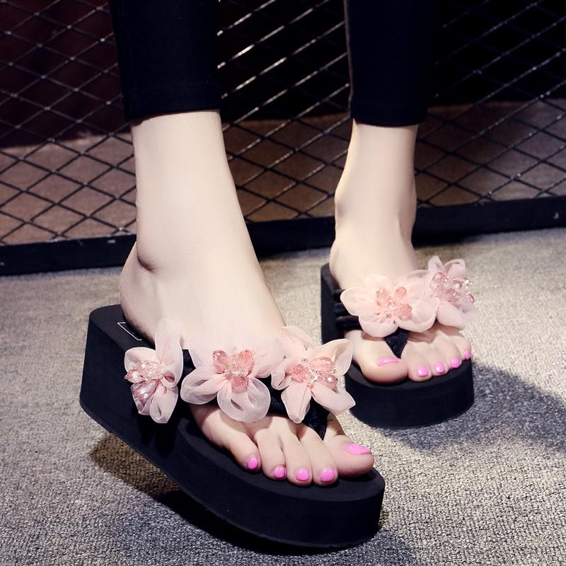 花朵水钻凉拖鞋