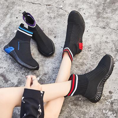 高帮女鞋子2018秋季新款袜子鞋韩版百搭平底休闲布鞋女士潮流袜鞋