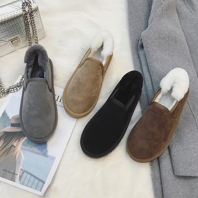 情侣雪地靴女短筒韩版百搭学生冬季保暖加绒一脚蹬低帮棉鞋面包鞋