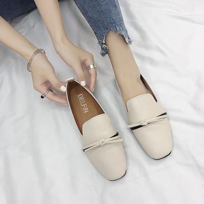 豆豆鞋女新款一脚蹬乐福鞋平底单鞋社会鞋网红鞋子春夏季小皮鞋
