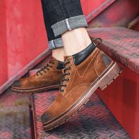 青年男士2019初春新款中帮马丁靴英伦复古风擦色皮耐磨百搭工装靴