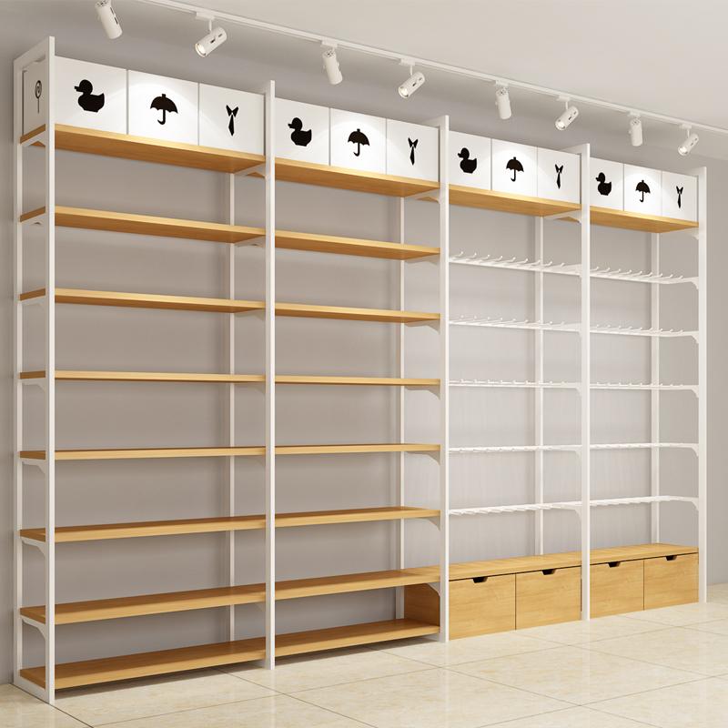 名创款优品白色双立柱货架饰品店展示架文具店展柜便利店边柜货架