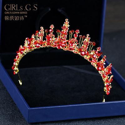 新款女童皇冠头饰女孩公主发箍红色手工水钻皇冠儿童生日演出配饰
