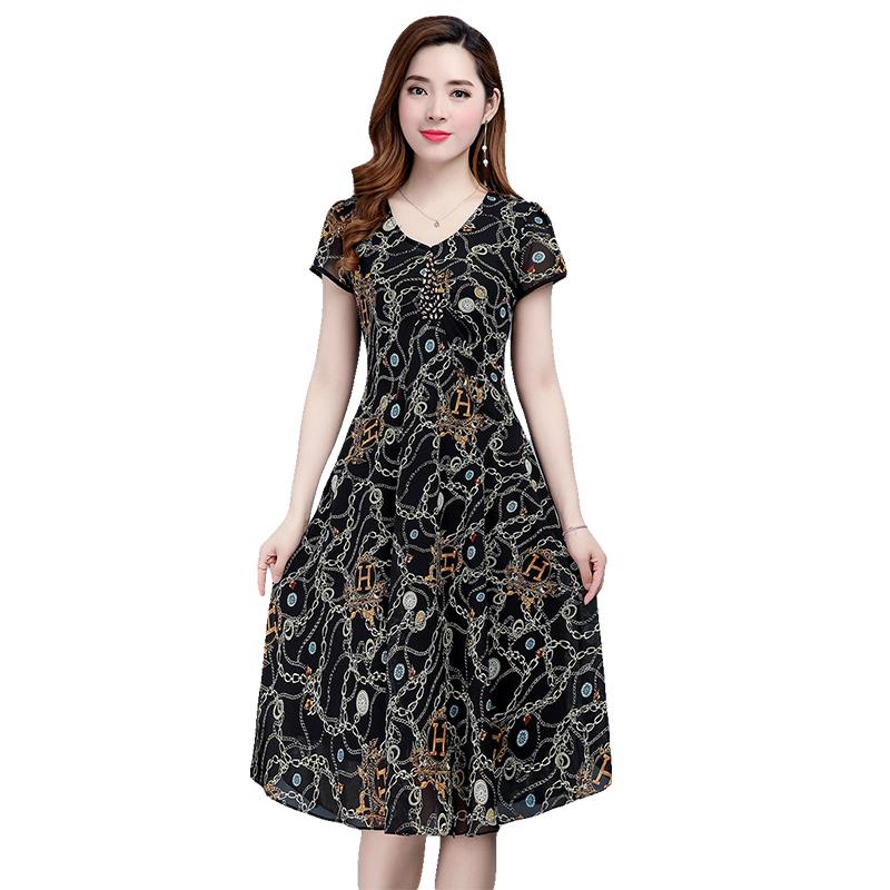 中年妈妈夏装气质雪纺过膝长裙子2018新款中老年女夏季短袖连衣裙