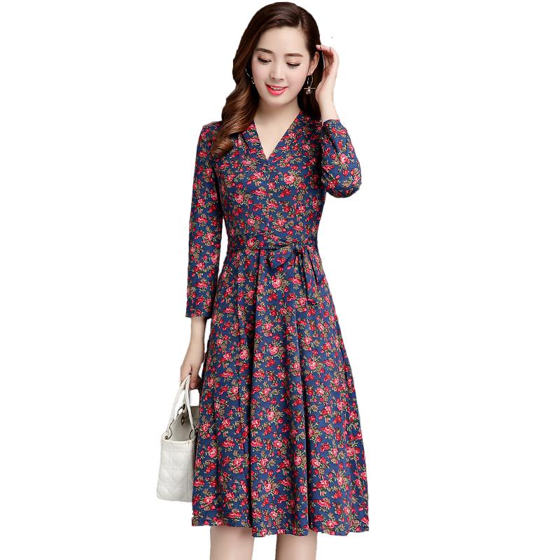 中老年女装连衣裙女秋装长袖40-50岁妈妈中长款碎花裙子2018新款