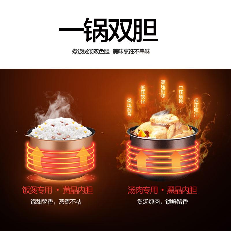 美的电压力锅双胆家用智能5L高压饭煲官方1特价2旗舰店3正品4-6人
