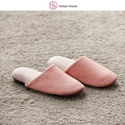 2018秋季女士条纹棉质拖鞋舒适室内防滑软底地板包头拖鞋海澜优选