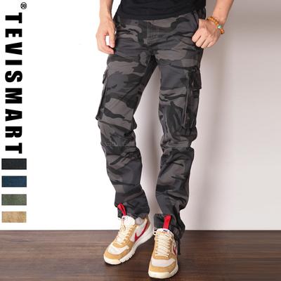TEVISMART/特威斯玛冬季迷彩裤男宽松运动裤直筒工装裤男军裤长裤