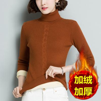 秋冬新款高领毛衣女士加绒加厚带绒打底衫保暖百搭针织线衣短款潮
