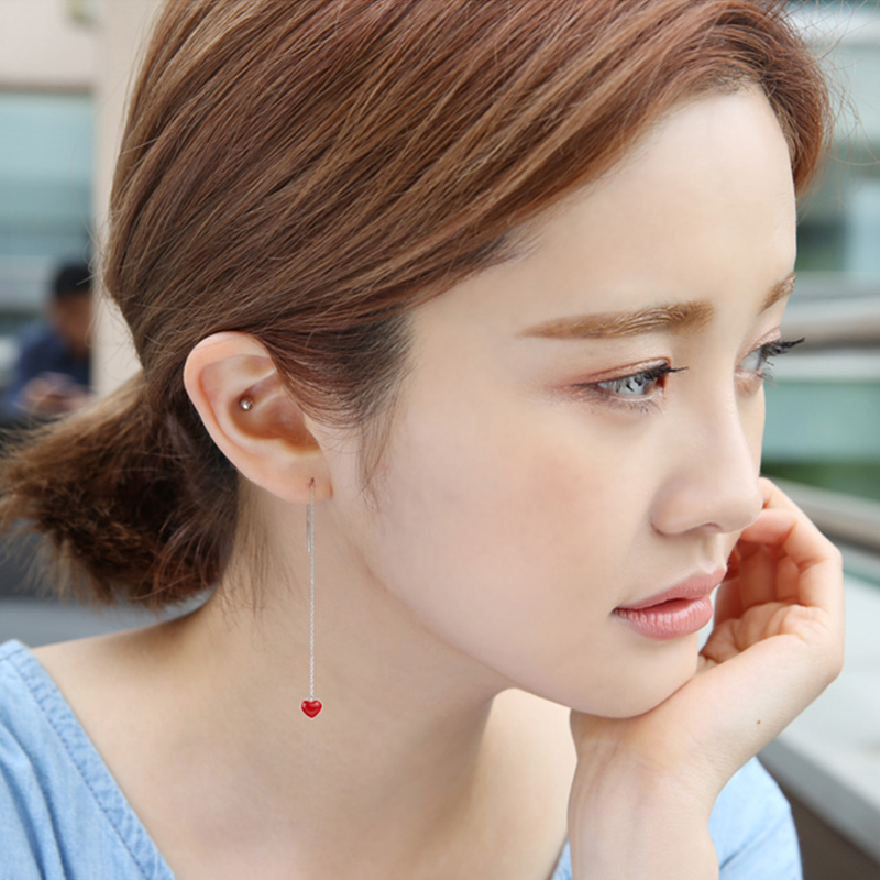 韩国s925纯银红色爱心耳线长款滴釉甜美桃心简约气质防过敏耳坠女