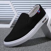 夏季新款男鞋子低帮帆布鞋百搭老北京布鞋秋季休闲男士懒人一脚蹬